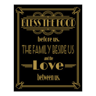 Art Deco 20's style Bless this food  print