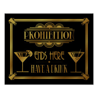 """Art Deco 20's style """"Cocktail Bar sign GOLD Poster"""