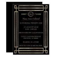 Art Deco 21st birthday party Invite
