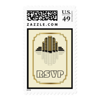 Art Deco abstract buildings black, gold RSVP Postage Stamps