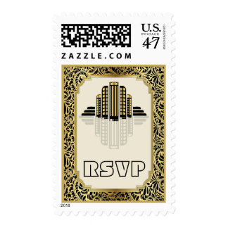 Art Deco abstract buildings black, gold RSVP Postage