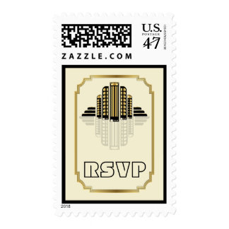 Art Deco abstract buildings black, gold RSVP Stamp