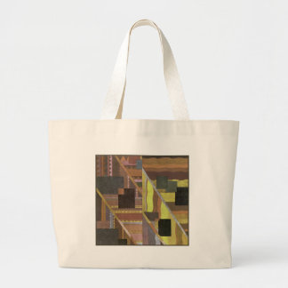Art Deco Abstract in Brown and Green Large Tote Bag