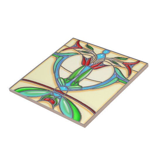 Art Deco Abstract Tulips Stained Glass Ceramic Tile
