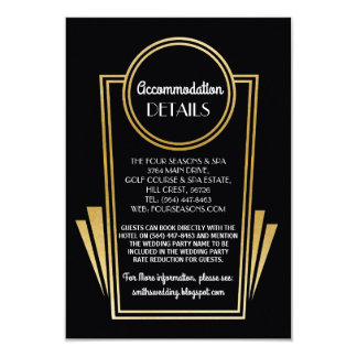 Art Deco Accommodation Wedding Cards Gold Black