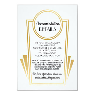 Art Deco Accommodation Wedding Cards Gold White