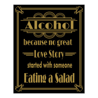 Art Deco Alcohol Bar Print Gold and black