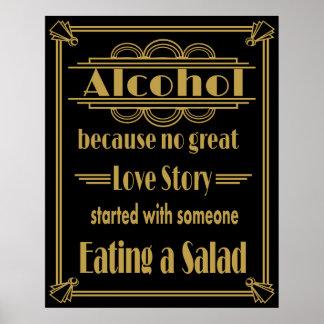 Art Deco Alcohol Bar Print Gold and black