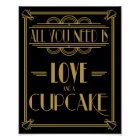 Art Deco All you need is love and a cupcake print