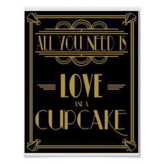 Art Deco All you need is love and cupcake print