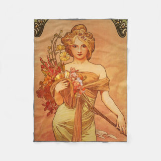 Art Deco, Alphonse Mucha, Vintage Art Fleece Blanket