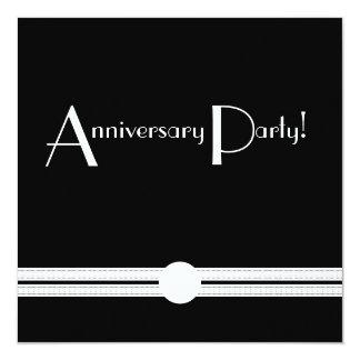 """Art Deco Anniversary Invite in Black and White 5.25"""" Square Invitation Card"""