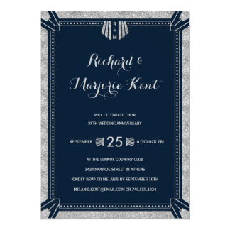 Art Deco Anniversary Party Silver and Navy Blue Invitation