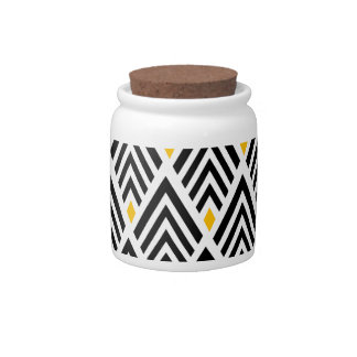 Art Deco Arrows with Gold Accent Pattern Candy Jar