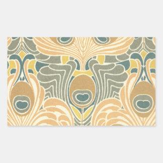 art deco art nouveau peacock pattern art rectangular sticker