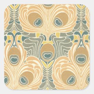 art deco art nouveau peacock pattern art square sticker