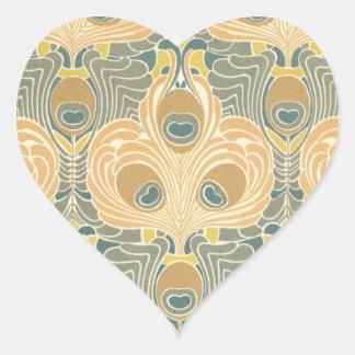 art deco art nouveau peacock pattern art heart sticker