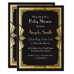 Art Deco Baby Shower Gatsby Black Invite 1920's