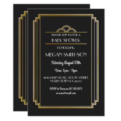 Art Deco Baby Shower Invite Black Gold 1920s Party