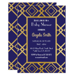 Art Deco Baby Shower Party Invite Gold Navy 1920s