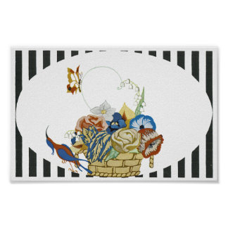 Art Deco Basket of Flowers Poster