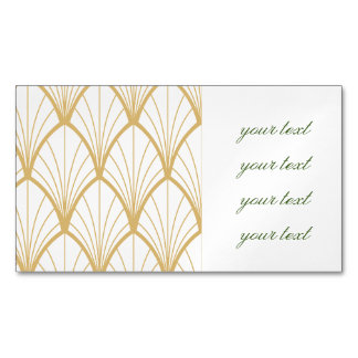 art deco, beautiful,fan pattern, gold,white,vintag magnetic business card