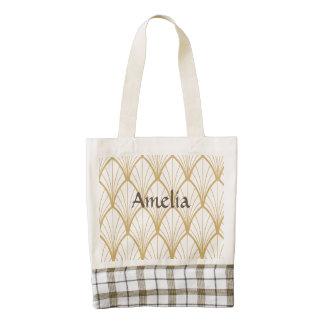 art deco, beautiful,fan pattern, gold,white,vintag zazzle HEART tote bag