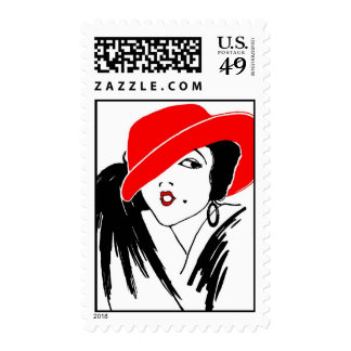 Art Deco Beautiful Woman Red Hat Postage