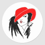 Art Deco Beautiful Woman Red Hat Round Stickers