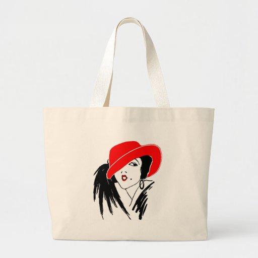 Art Deco Beautiful Woman Red Hat Tote Bags