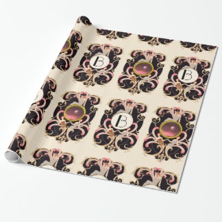 ART DECO BEAUTY FASHION COSTUME DESIGNER MONOGRAM WRAPPING PAPER