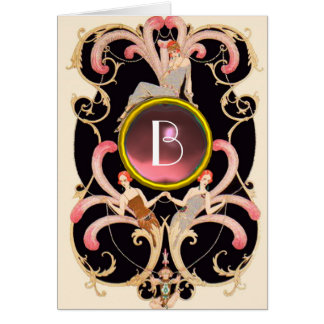 ART DECO BEAUTY FASHION PINK GEM MONOGRAM Birthday Cards