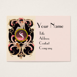 ART DECO BEAUTY FASHION PINK GEMSTONE MONOGRAM BUSINESS CARD