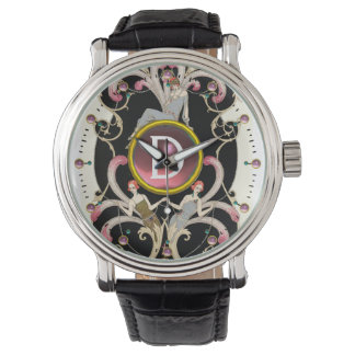 ART DECO BEAUTY FASHION PINK GEMSTONE MONOGRAM WRIST WATCH