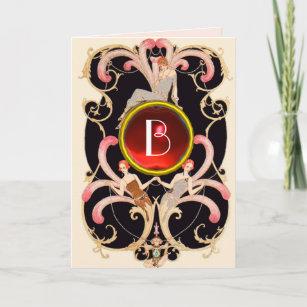 ART DECO BEAUTY FASHION RED GEM MONOGRAM Birthday Card