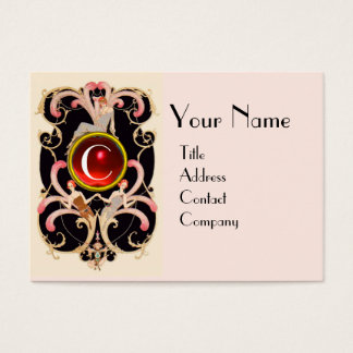 ART DECO BEAUTY FASHION RED RUBY GEMSTONE MONOGRAM BUSINESS CARD