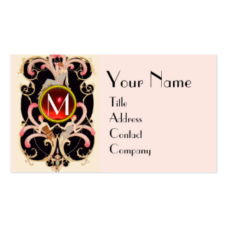 ART DECO BEAUTY FASHION RED RUBY GEMSTONE MONOGRAM Double-Sided STANDARD BUSINESS CARDS (Pack OF 100)