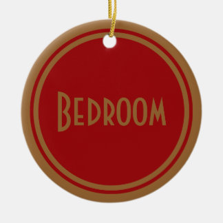 Art Deco Bedroom Door Double-Sided Ceramic Round Christmas Ornament