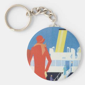 Art Deco Belgian Ferry Poster Basic Round Button Keychain