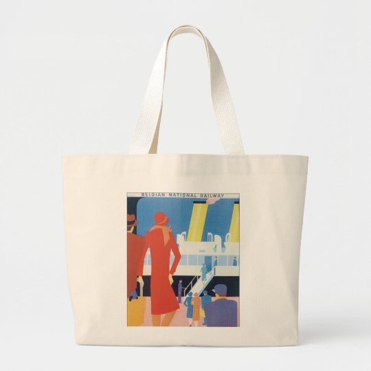 Art Deco Belgian Ferry Poster Large Tote Bag