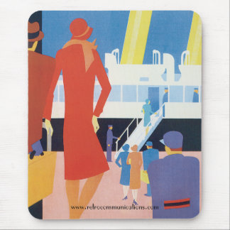 Art Deco Belgian Ferry Poster Mouse Pad