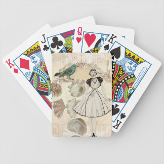 Art deco bird  french scripts great gatsby girl bicycle playing cards