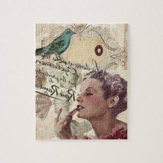 Art deco bird  french scripts great gatsby girl jigsaw puzzle