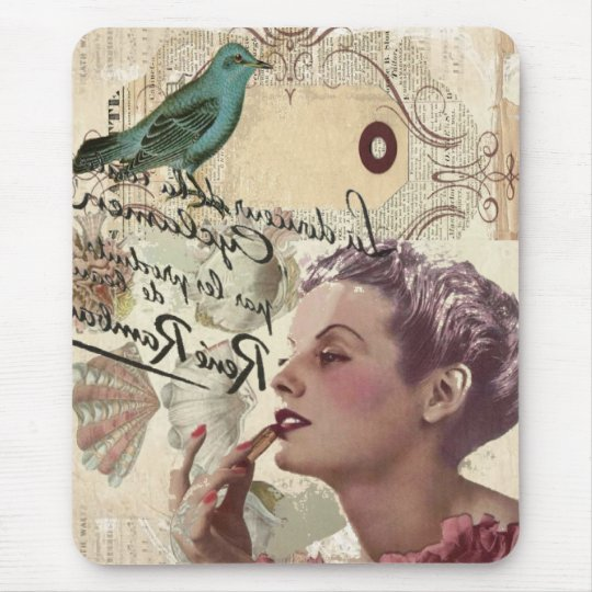 Art deco bird  french scripts great gatsby girl mouse pad