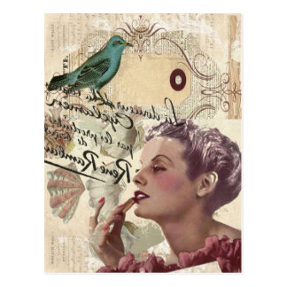Art deco bird  french scripts great gatsby girl postcard