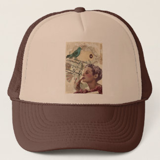 Art deco bird  french scripts great gatsby girl trucker hat