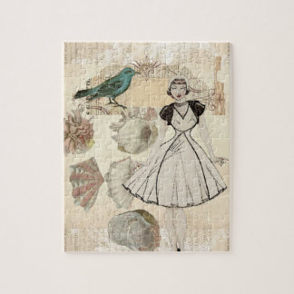 Art deco bird scripts seashells great gatsby girl jigsaw puzzle