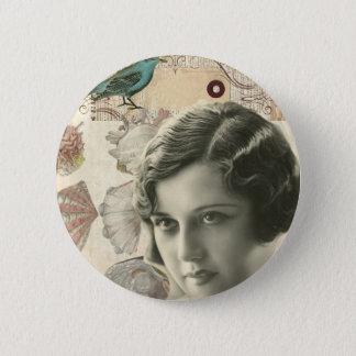 Art deco bird scripts seashells great gatsby girl pinback button