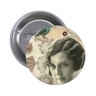 Art deco bird scripts seashells great gatsby girl pinback button