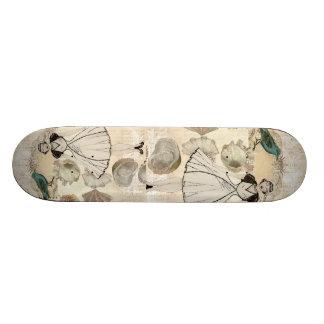 Art deco bird scripts seashells great gatsby girl skateboard